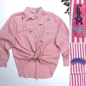 Vintage Striped Button Down with Paris Patches